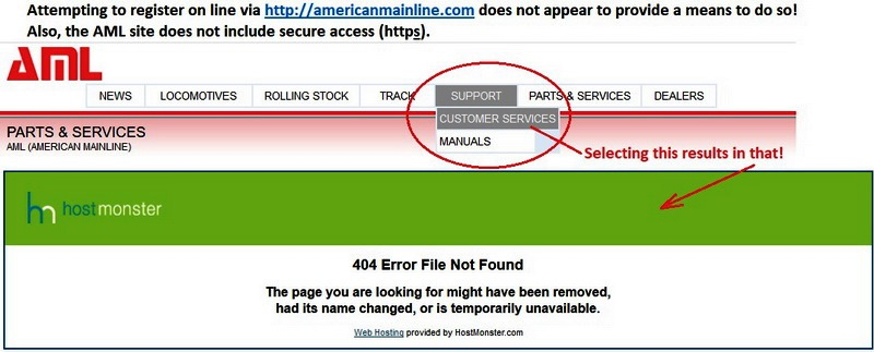 AML Web site attempt to register fails